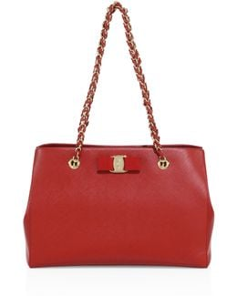 Small Melike Saffiano Leather Chain Tote