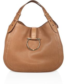 Large Perrine Gancio Bracelet Leather Hobo Bag