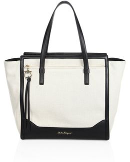 Large Amy Leather-trim Canvas Tote