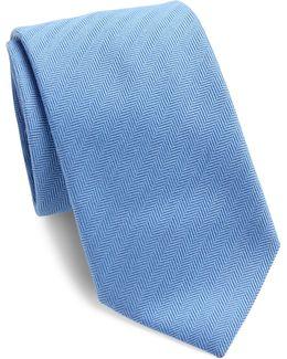 Herringbone Texture Wool & Silk Blend Tie