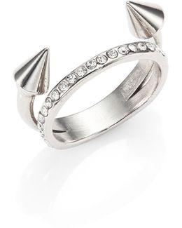 Ultra Mini Titan Crystal Double-band Ring/silvertone