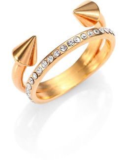 Ultra Mini Titan Crystal Double-band Ring/rose Goldtone