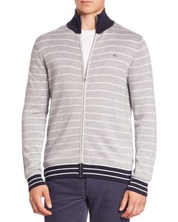 Double-face Chine Striped Zip-front Cardigan