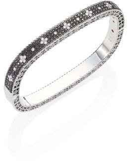 Rock And Diamond 18k White Gold Bangle Bracelet