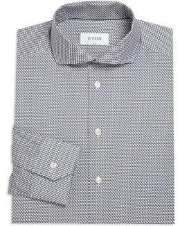 Printed Tonal Slim-fit Dress Shirt