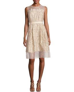 Illusion Lace Applique Dress