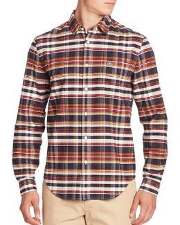 Long Sleeve Brushed Twill Plaid Shirt
