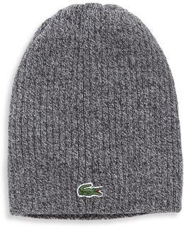Ribbed Wool Knit Beanie