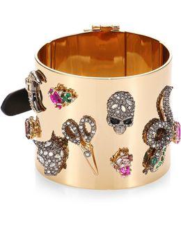 Crystal-encrusted Charm Cuff Bracelet