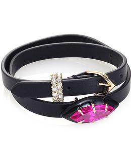 Crystal & Leather Wrap Bracelet/choker