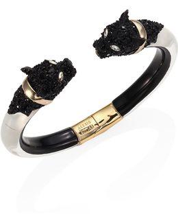 Lucite & Crystal-encrusted Panther Bangle Bracelet