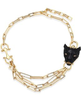 Multi-chain Crystal Panther Necklace