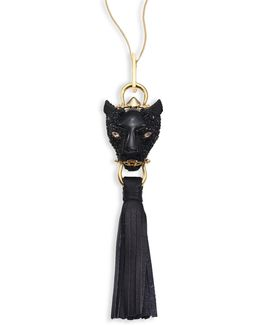 Crystal Panther & Leather Tassel Necklace