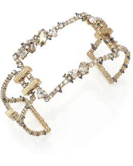 Crystal-encrusted Oversized Link Cuff Bracelet