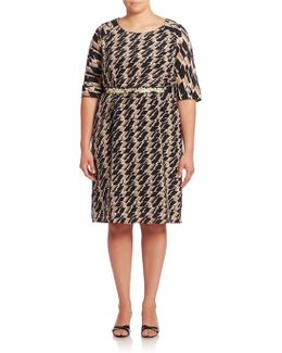 Geometric Printed Belted Waist Dress