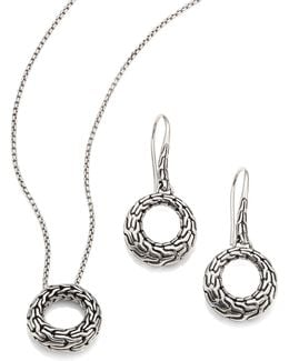 Classic Chain Sterling Silver Small Round Pendant Necklace & Drop Earrings Gift Box Set