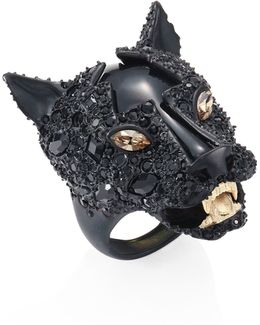 Crystal-encrusted Panther Statement Ring
