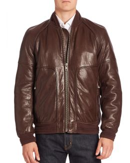 Hughes Leather Fur-lined Moto Jacket