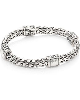 Classic Chain Hammered Silver Medium Four Station Bracelet