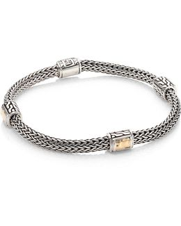 Classic Chain Extra Small Two-tone Hammered Four Station Bracelet
