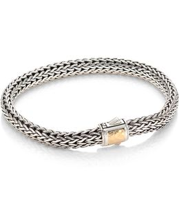 Classic Chain Hammered Silver Small Chain Bracelet