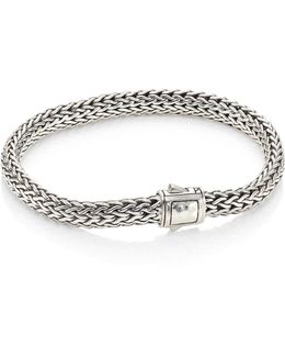 Classic Chain Small Hammered Silver Chain Bracelet