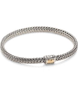 Classic Chain Hammered Extra Small 18k Yellow Gold & Sterling Silver Chain Bracelet