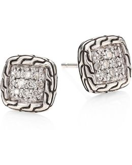 Classic Chain Diamond & Sterling Silver Stud Earrings