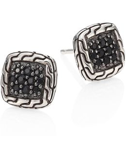 Classic Chain Sterling Silver & Black Sapphire Lava Stud Earrings