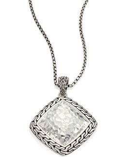 Classic Chain Hammered Silver Heritage Large Quadrangle Pendant Necklace
