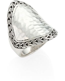 Classic Chain Hammered Silver Heritage Marquise Ring