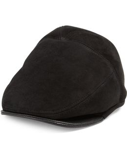 Shearling Sheepskin Newsboy Cap