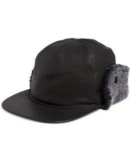Sheepskin Shearling Fur Trimmed Leather Baseball Hat