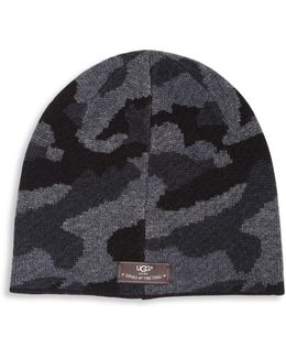 Wool Blend Patterned Beanie