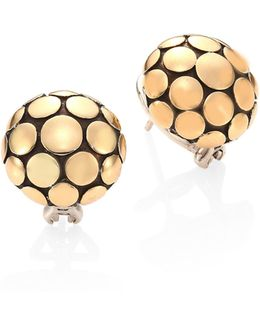 Dot 18k Yellow Gold Large Button Earrings
