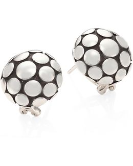 Dot Sterling Silver Large Button Earrings