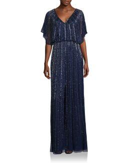 Embellished Front Slit Bridesmaid Gown