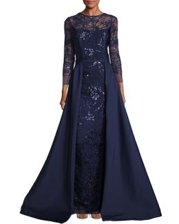 Embellished Lace Overlay Gown
