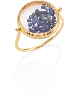 Blue Sapphire & 18k Yellow Gold Chivor Ring