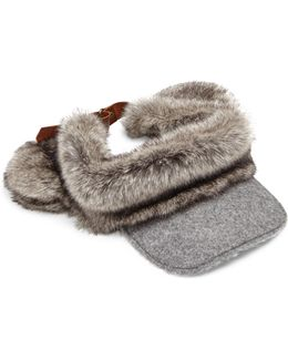 Head And Tails Wool & Faux-fur Visor