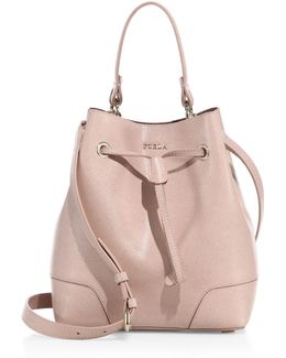 Stacy Small Leather Drawstring Bucket Bag