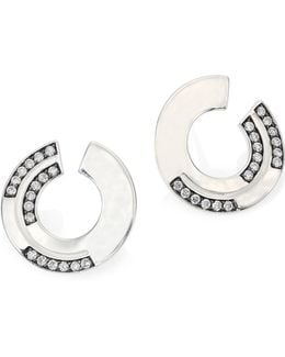 Sensotm Staggered Diamond Pave & Sterling Silver Disc Earrings