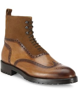 Parker Wingtip Leather & Suede Boots