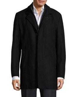 Solid Wool-blend Coat