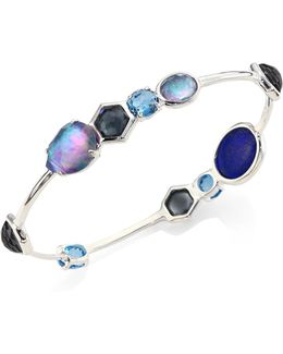 Rock Andy? Eclipse Mixed Stone & Sterling Silver Bangle Bracelet