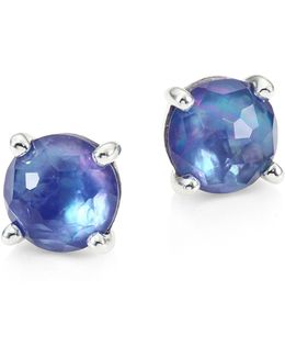 Rock Candy? Clear Quartz, Mother-of-pearl & Lapis Mini Stud Earrings