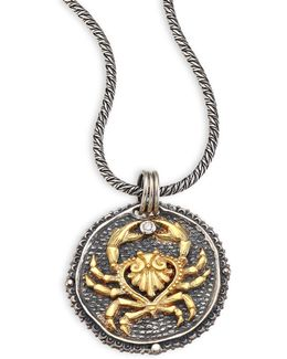 Zodiac Diamond, 18k Yellow Gold & Sterling Silver Cancer Pendant