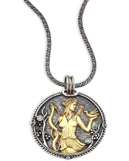 Zodiac Diamond, 18k Yellow Gold & Sterling Silver Scorpio Pendant