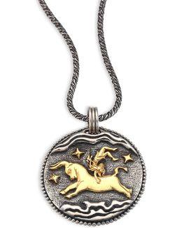 18k Yellow Gold & Sterling Silver Zodiac Taurus Pendant