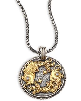 Zodiac Diamond, 18k Gold & Sterling Silver Pisces Charm Pendant